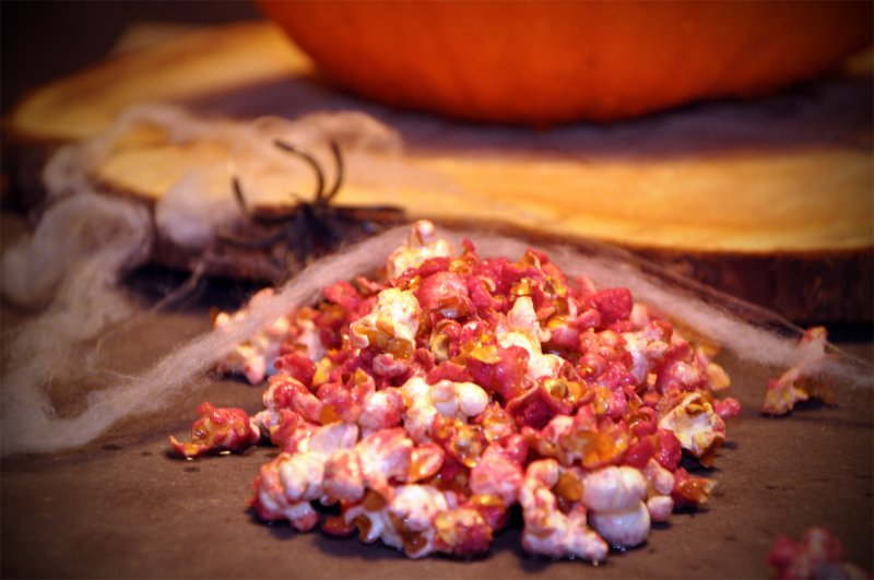 Blodige popcorn til halloween