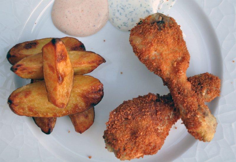 kyllingelår med rasp i friture