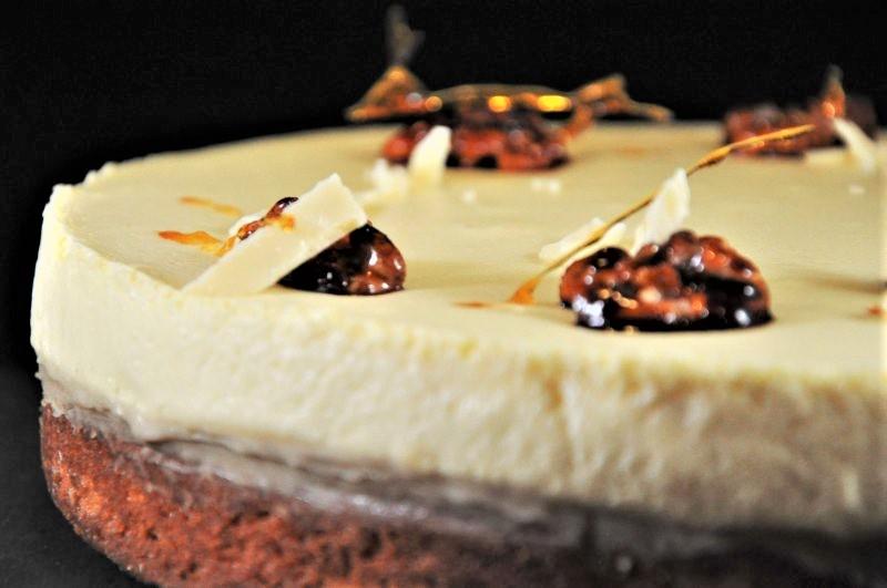 Lagkage med karamelmousse, lakridslag og hvid brownie