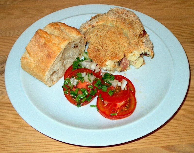 Fedtfattig gratin med grøntsager og skinke