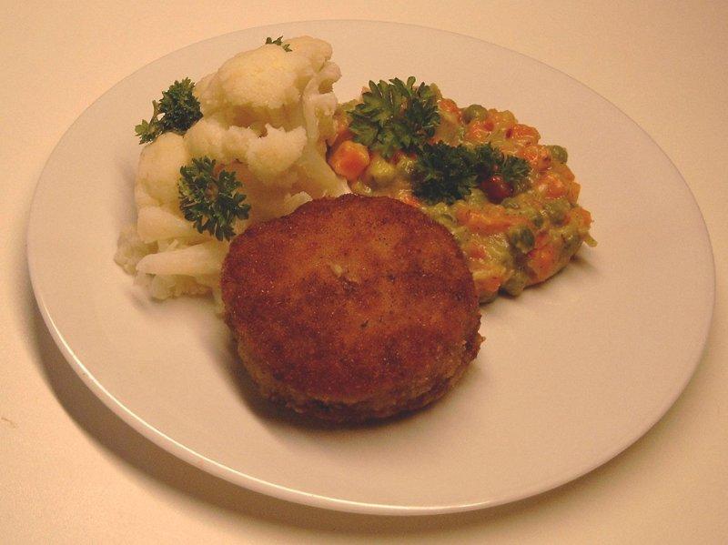 karbonader  - grønærter og blomkål